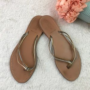 J Crew Made in Italy Leather Sandals Gold Tones 9